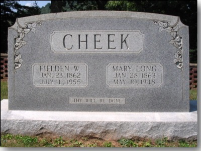 Fielden Walter Cheek and Mary Long Cheek Gravestone